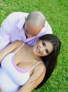 Young Couple On Grass Royalty Free Stock Photo