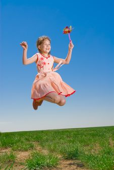 Free Happy Girl Jumping Outdoors Royalty Free Stock Images - 5142079