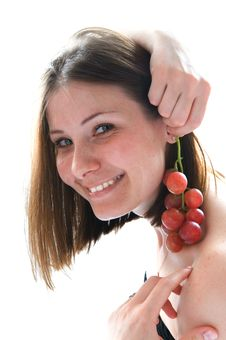 Free Beautiful Young Woman With Red Grape Royalty Free Stock Photos - 5142168
