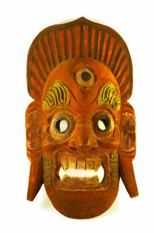 Free Brick Red Antique Wooden Mask Stock Photo - 5142250