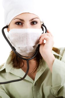 Free Doctor In White Mask Stock Image - 5142591