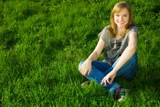 Free Young Woman On The Grass Stock Photos - 5142703