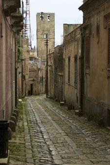 Street Of Erice Stock Photo