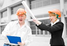 Architects Man And Woman Protective Helmet Royalty Free Stock Images