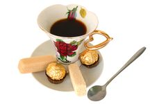 Cup Of Tea And Sweeties. Royalty Free Stock Photography
