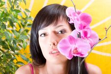 Free Asian Girl With Orchid Stock Photos - 5146133