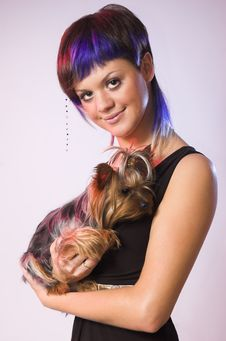 Free The  Girl And Small Dog Stock Photo - 5146360