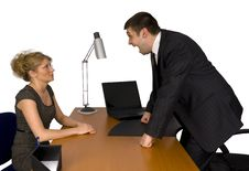 Businesswoman And Businessman In Office. Stock Photos