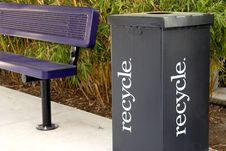 Free Recycle Box Next To Park Bench Stock Photography - 5146482