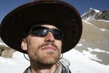 Free Man With Large Hat Enjoying The Sun Stock Image - 5146551
