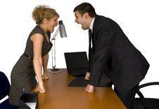 Businesswoman And Businessman In Office. Stock Photography