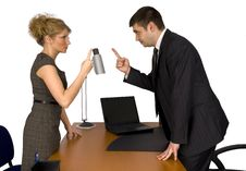 Businesswoman And Businessman In Office. Royalty Free Stock Photography