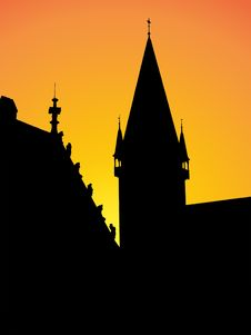 Free Medieval Town Silhouette Royalty Free Stock Images - 5147469