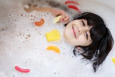 Girl In The Bathtub Royalty Free Stock Photo