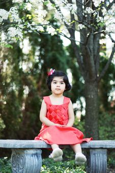 Free Girl On A Bench Stock Image - 5148371