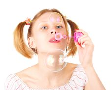 Free Girl With Soap Bubbles Stock Images - 5148644