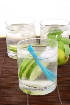 Free Ice Water With Lime Stock Image - 5148941