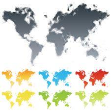 Free Halftone World Map Stock Images - 5149184