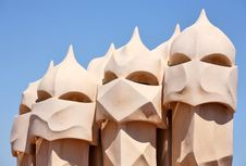 Free Abstract Sculptures On The Roof La Pedrera (Milà H Stock Image - 5149441