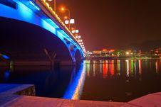 Nigth View Of Bridge Stock Images