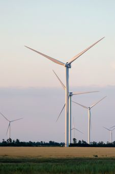 Free A Wind Farm In The Wide Spread Field Stock Photo - 51450000