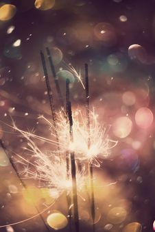 Free Sparkler And Colorful Bokeh Stock Image - 51480711