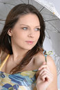 Free Young Brunette Girl With Umbrella In White Stock Photography - 5158272