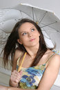 Free Young Brunette Girl With Umbrella In White Royalty Free Stock Photos - 5158298