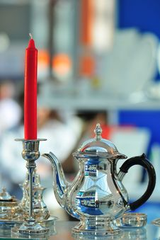 Free View Teapot And  Candle Stock Photography - 5151682