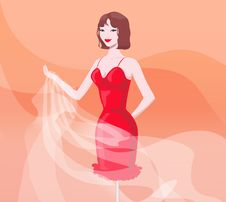 Free Girl In Red Evening Dress Stock Images - 5152714