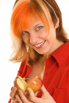 Free Smiling Woman With Apple Royalty Free Stock Photos - 5154618