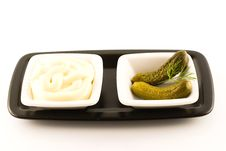 Free Mayonnaise And Pickled Gherkin Stock Photos - 5154883