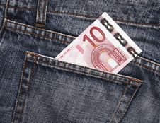 Euro Pocket Money In Blue Jeans Stock Photos
