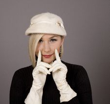 Free Blonde Fur Hat Two Fingers Royalty Free Stock Photography - 5155677