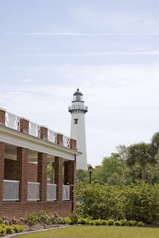 Free Lighthouse Past Brick Buildings Stock Photography - 5156242