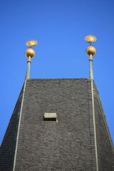 Free Golden Suns On Old Town Bridge Tower Roof Stock Photos - 5156483