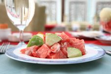 Free Appetizing Salad On A Plate With Cup Of Drinking Stock Images - 5156934