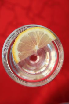 Lemon In In Soda Water Stock Photo