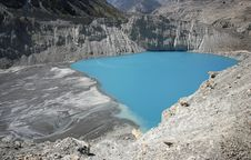 Panoramic View Of Blue Lake In The Himalayas Royalty Free Stock Photos