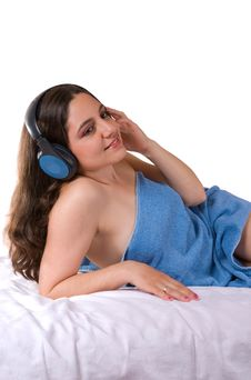 Free Pretty Girl In Towel With Headphones Stock Photo - 5158250