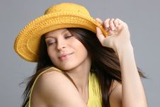 Free Beautiful Sexy Woman In Yellow Hat Stock Photography - 5158422