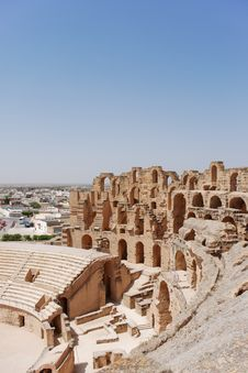 Free Roman Amphitheatre In Tunisia Stock Image - 5159071