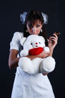 Free Beauty Woman With Bear And Cigar Stock Photos - 5159233