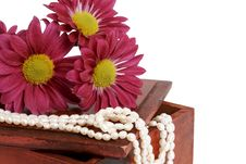 Free White Pearls With Pink Flowers Royalty Free Stock Photography - 5159257