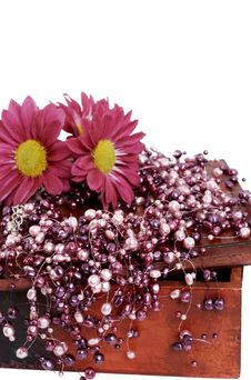 Fake Pink Pearls With Pink Flowers Royalty Free Stock Images