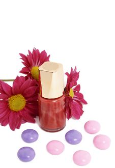 Free Fashionable Nail Polish With Flowers Stock Photography - 5159622