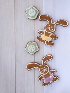 Easter Bunny And Green Flower Cookies Royalty Free Stock Photos