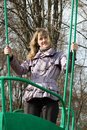 Free Girl In Park On Old Swing Stock Photography - 5165542