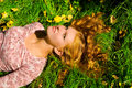 Free Girl Is Relaxing On The Grass Stock Images - 5167584