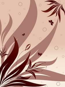 Free Vector Floral Composition With Three Butterflies Royalty Free Stock Photos - 5165648